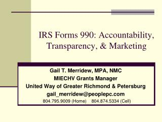 IRS Forms 990: Accountability, Transparency, & Marketing
