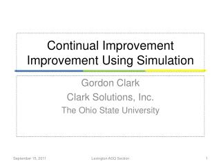 Continual Improvement Improvement Using Simulation