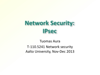 Network Security: IPsec