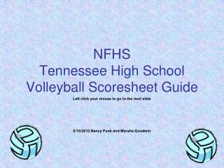 NFHS Tennessee High School Volleyball Scoresheet Guide