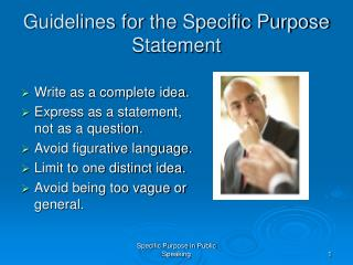 Guidelines for the Specific Purpose Statement