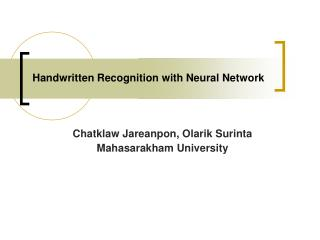 Handwritten Recognition with Neural Network