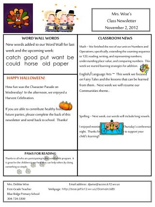 Mrs. Wise's Class Newsletter November 2, 2012