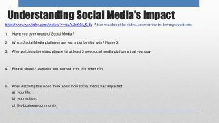 Understanding Social Media's Impact