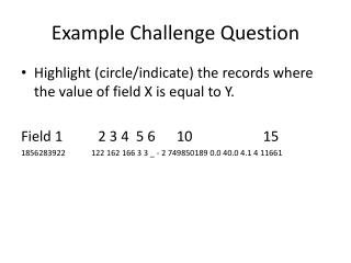 Example  Challenge Question