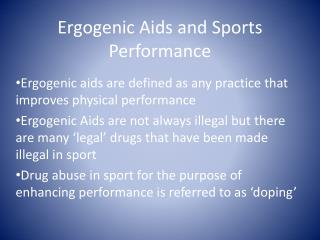 Ergogenic Aids and Sports Performance