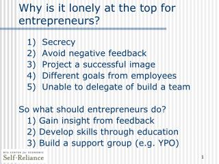 Why is it lonely at the top for entrepreneurs?