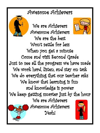 Awesome Achievers We are Achievers Awesome Achievers We are the best Won't settle for less