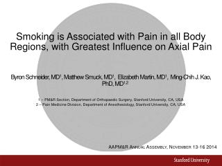 Smoking is Associated with Pain in all Body Regions, with Greatest Influence on Axial Pain