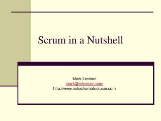 Scrum in a Nutshell