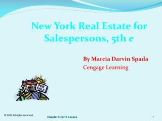 New York Real Estate for Salespersons, 5th  e