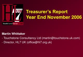 Treasurer's Report Year End November 2006