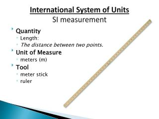 International System of Units SI measurement