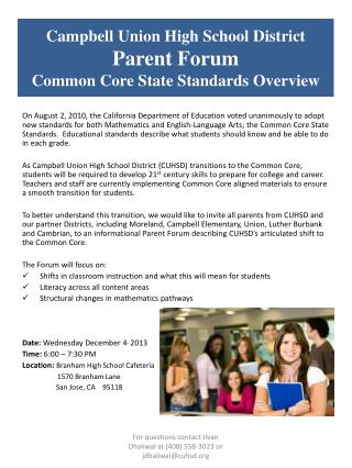 Campbell  Union High School  District Parent Forum Common  Core State Standards Overview
