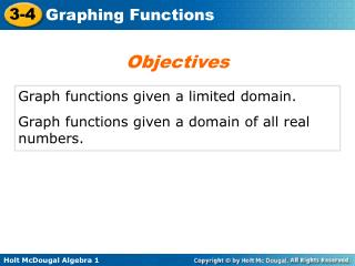 Graph functions given a limited domain. Graph functions given a domain of all real numbers.