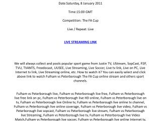 Fulham vs Peterborough live streaming online on your PC / Sa
