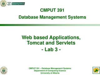 Web based Applications,  Tomcat and Servlets - Lab 3 -