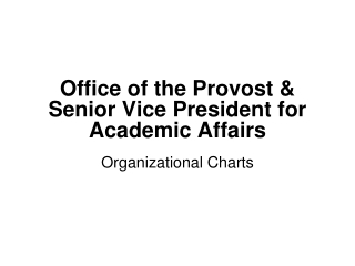 Office of the Provost & Senior Vice President for Academic Affairs