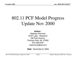 802.11 PCF Model Progress Update Nov 2000