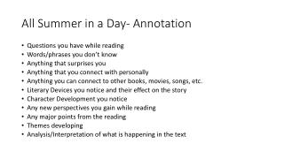 All Summer in a Day- Annotation