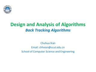Design and Analysis of Algorithms Back Tracking Algorithms