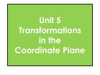 Unit 5 Transformations  in the Coordinate Plane