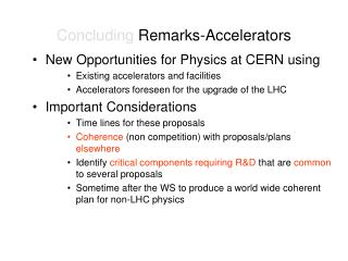 Concluding  Remarks-Accelerators