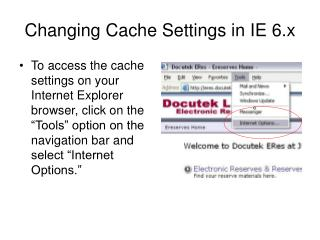 Changing Cache Settings in IE 6.x