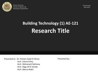 Building Technology (1) AE-121