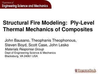 Structural Fire Modeling:  Ply-Level Thermal Mechanics of Composites