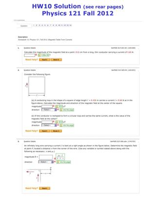 HW10 Solution  (see rear pages) Physics 121 Fall 2012
