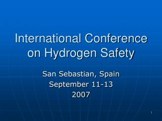 International Conference on Hydrogen Safety