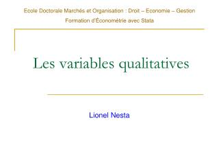 Les variables qualitatives