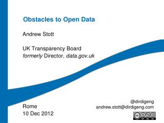 Obstacles to Open Data
