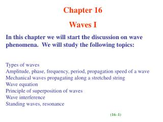 Chapter 16 Waves I