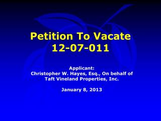 Petition To Vacate  12-07-011