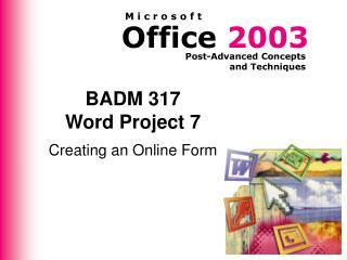 BADM 317 Word Project 7