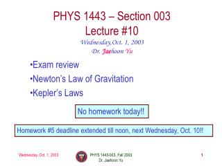 PHYS 1443 – Section 003 Lecture #10