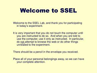 Welcome to SSEL