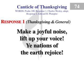 Canticle of Thanksgiving (Response 1)