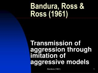 transmission of aggression through imitation of aggressive models Transmission of aggression through imitation of aggressive models were exposed to a non-aggressive model who played in a quiet and subdued manner.