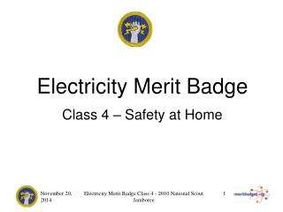 Electricity Merit Badge Class 4 – Safety at Home