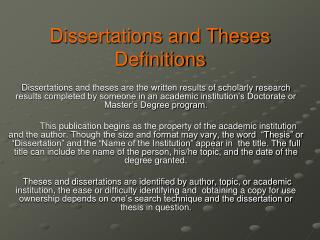 Dissertations and Theses  Definitions