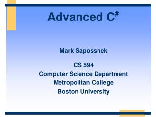 Advanced C #