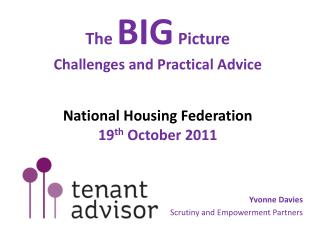 The  BIG  Picture Challenges and Practical Advice National Housing Federation 19 th  October 2011