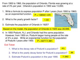 From 1900 to 1960, the population of Orlando, Florida was growing at a
