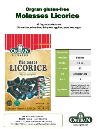 Orgran  gluten-free Molasses  Licorice