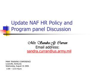 Update NAF HR Policy and Program panel Discussion