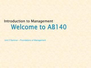Welcome to AB140