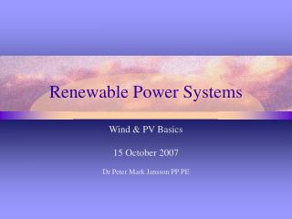 Renewable Power Systems